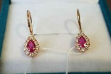Russian Earrings gold NEW Solid Rose Gold 14K 585 ruby fine jewelry 1.3g retro