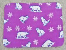 Fleece Standard (Twin) Pillow Cover - Polar Bears & Snowflakes On Fushia