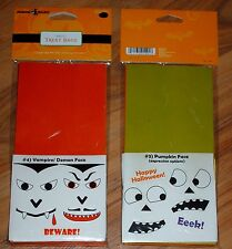 New Halloween Treat bags w/ stickers vampire, pumpkin face, cat, monster 6 bags