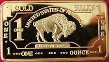 1 Troy Oz 100 Mills 24K .999 goud USA Buffalo baar!!