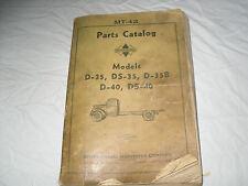 INTERNATIONAL MODEL D35, DS35, D35B, D40, DS40 PARTS CATALOG  MT-42  8/38