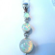 """PRETTY 925 SILVER WHITE OPAL 3 STONE WITH 20"""" SILVER PLATED CHAIN"""
