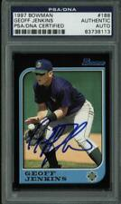 Brewers Geoff Jenkins Authentic Signed Card 1997 Bowman #188 PSA/DNA Slabbed
