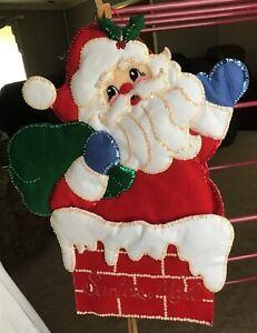 Vintage Handmade Felt Sequins Santa Claus Christmas Card Mail Holder