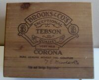 Vintage Brooks And Co's Tebson Corona Size WOODEN  CIGAR  BOX - guitar??