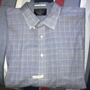 Mens Blue Yellow Nautica Dress Shirt Size XXL