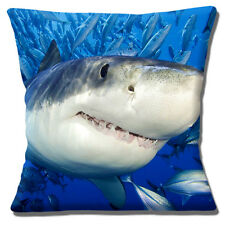 "Shark Showing Teeth 16""x16"" 40cm Cushion Cover Photo Print Close Up With Fish"