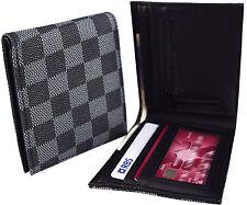 Homme Damier wallet-noir & gris-en faux cuir id & carte cash emplacements-nouveau cadeau