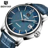 BENYAR Date Men's Business Automatic Mechanical Wrist Watch Leather Band Strap