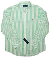 POLO RALPH LAUREN Long Sleeve Button Shirt Green Striped XL ~ New