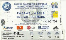 2006 FOOTBALL WORLD CUP QUALIFIERS TICKET STUB – GREECE – DENMARK – HELLAS