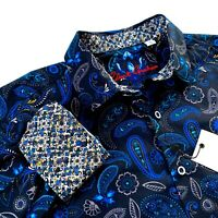 Robert Graham Floral Colorful Print Mens Sport Shirt Black Blue $198