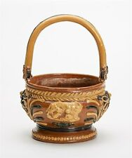 ANTIQUE FOLKART REDWARE SLIP DECORATED BASKET 19TH C.