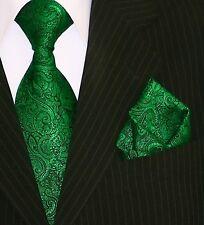 Binder de Luxe Designer Krawatte Einstecktuch Krawatten Set Tie 423 Grün