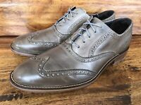 Men's Cole Haan Wingtip Grayish Brown Leather Dress Shoes Size 9.5 M