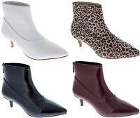 Harmoni-8 Women Patent Pointed Toe Kitten Low Heel Ankle Booties Boots