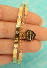 18K Yellow Gold Finish Heart Shape Bangle Diamond Bracelet 0.5ct for Women