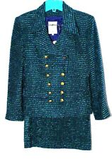 Women's Suit Vertigo Pour La Ville  4 Skirt Multi-Colored Wool Blend Textured
