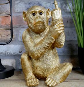 Gold Monkey Ape Ornament Statue Sculpture Animal Home Decor Resin Novelty Gift