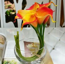 FD827 Orange Artificial Latex Calla Lily Flowers Bouquet Garden Home Wedding 1PC