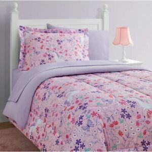 Twin Full Bed Bag Pink Purple Floral Unicorns 11 pc Comforter Sheet Set Bedding