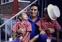 Vintage Photo Slide 1972 Sons Dad Polka Dot Shirts White Hat