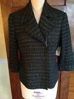 Coldwater Creek 12 NWT Women's Green Wool Blend lined Blazer 3/4 Sleeves