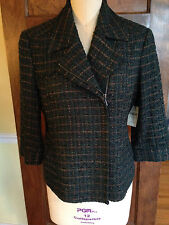 Coldwater Creek 12 NWT Women's Green Wool Blend lined Blazer 3/4 Sleeves