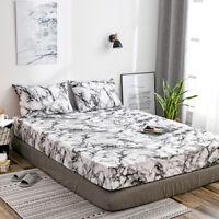 5 Size Marble 1800 Count Bed Sheet Set Deep Pocket Comforter Cover Soft Bedding
