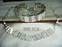 VINTAGE Mother of Pearl Lucite Diamond Rhinestone Crystal NECKLACE BRACELET SET
