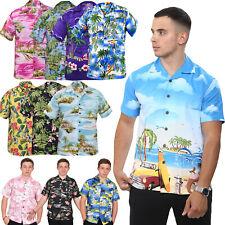 True Face Men Hawaiian Shirts Beach Flamingo Mountains Spring Short Sleeve Shirt