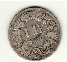 SUISSE RARE 1 FRANC ARGENT 1875 BERNE
