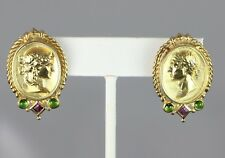 seidengang SG Atenas 18ct Oro Amarillo Macizo Verde Turmalina Rosa Pendientes