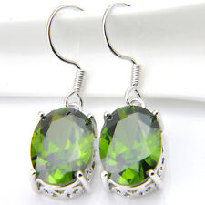 Woman Solid Silver Earrings With Natural Olive Peridot Gemstone As Jewelry Gift