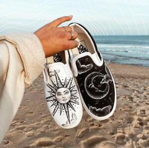 VANS à Enfiler sans Lacets Soleil Et Luna - & Moon [Chaussures Custom] 100%