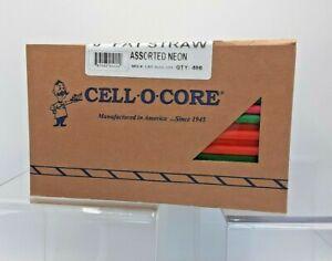 """Cell-O-Core 8"""" Fat Plastic Straws Neon 1 case  6 boxes 400 per box 2400 Bar-Pak"""