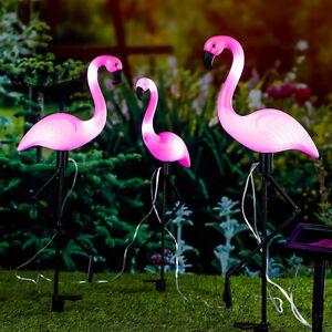 Gartenstecker Flamingo mit LED Solar 3er Set Gartendeko Dekofigur Gartenleuchten