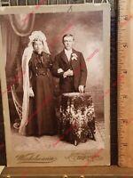1800's Cabinet Card Photo Brenham Texas F Winkelmann Stern Marriage Wife Husband