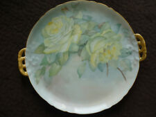 LOVELY GDA LIMOGES PIERCED HANDLE WALL/CABINET PLATE/ YELLOW ROSES/1900