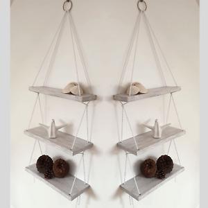 WHITE Rope Shelves Distressed Shabby Chic Hanging Wall Wooden Shelf HANDMADE