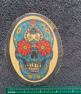 100% Leather Suger Skull Sew On Motorcycle Biker Patch