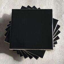 8 pcs. Vintage *Gloss Black* Ceramic Tile 4-1/4 x 4-1/4 American Olean