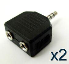 2x Adaptateur doubleur audio stereo Jack 3,5mm / 2x coupleur splitter adapter