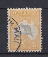 K975) Australia 1932 5/- Grey & yellow C of A wmk. Kangaroo BW 46