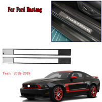 2x Carbon Fiber Interior Door Sills Guard Protection For Ford Mustang 2015-2019