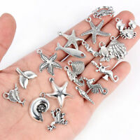 40x Wholesale Mixed Marine Life Sea Charms Pendants Tibetan Silver Jewelry DIY