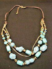 18182f669bdf Collar de cadena triple con turquesa y diamantes de imitación 26