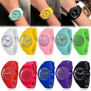 Women Ladies Soft Jelly Silicone Band Quartz Sports Girl Kids Wrist Watch