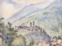 Watercolour - Bellinzona in Switzerland - Canton Ticino - Alpenlandschaft