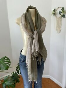 """EILEEN FISHER Organic Linen Cotton Natural Ombre Fringed Large Scarf Wrap 27x72"""""""